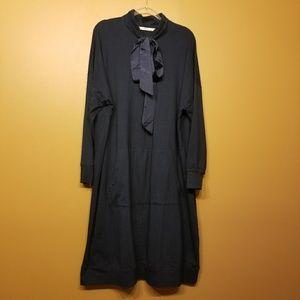 eShakti | Navy Sweatshirt Pullover Dress (1X-16)